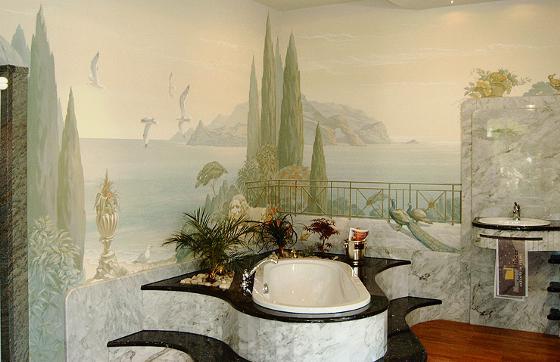 Gennadij Gorbatyi Bei Der Arbeit An Einer Wandmalerei : Oben: Luxuriöses  Badezimmer Im Toskana Stil; Rechts: Detail
